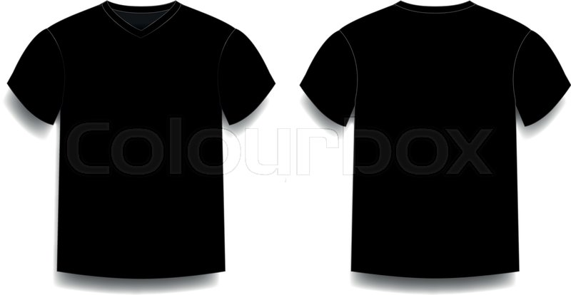 Black Mens T Shirt Template V Neck Front And Back Side Views Vector Of Male Wearing Illustration Isolated On White Background