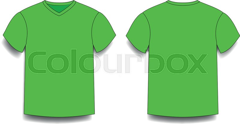 green men s t shirt template v neck front and back side views