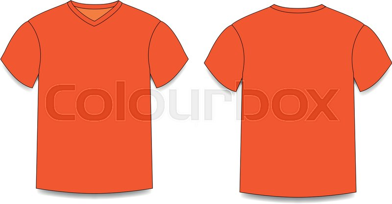 Orange Mens T Shirt Template V Neck Front And Back Side Views Vector Of Male Wearing Illustration Isolated On Transparent Background