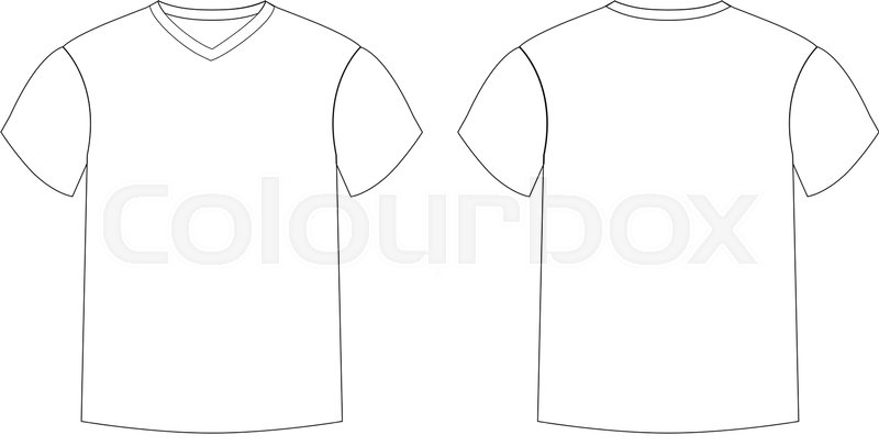 Outline Countur Silhouette Of Mens T Shirt Template V Neck Front And Back Side Views Vector Male Wearing Illustration Isolated On White