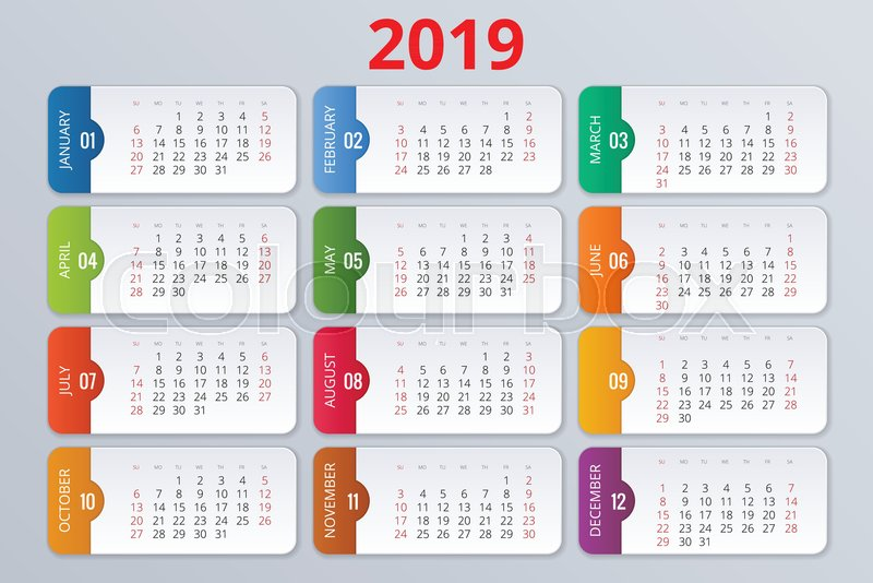 Calendar Planner For 2019 Year Vector Stock Vector Colourbox