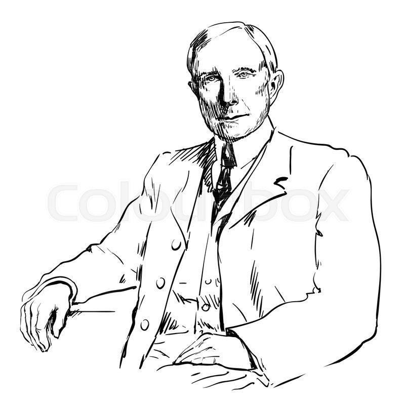 john davison rockefeller sr hand drawn vector illustration isolated