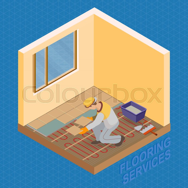 Home Repair Isometric Template Installing Tiles On Insulated Floor