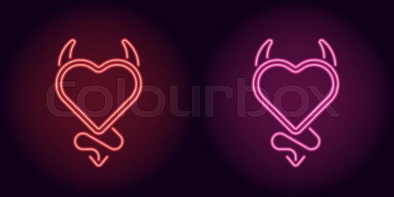 neon devil heart in red and pink color vector illustration of devil