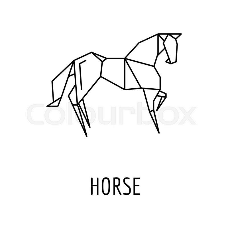 Origami Horse Icon Outline Horse Origami Vector Icon For Web Design