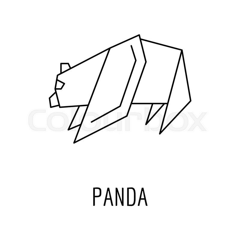 Origami Panda Icon Outline Panda Origami Vector Icon For Web Design
