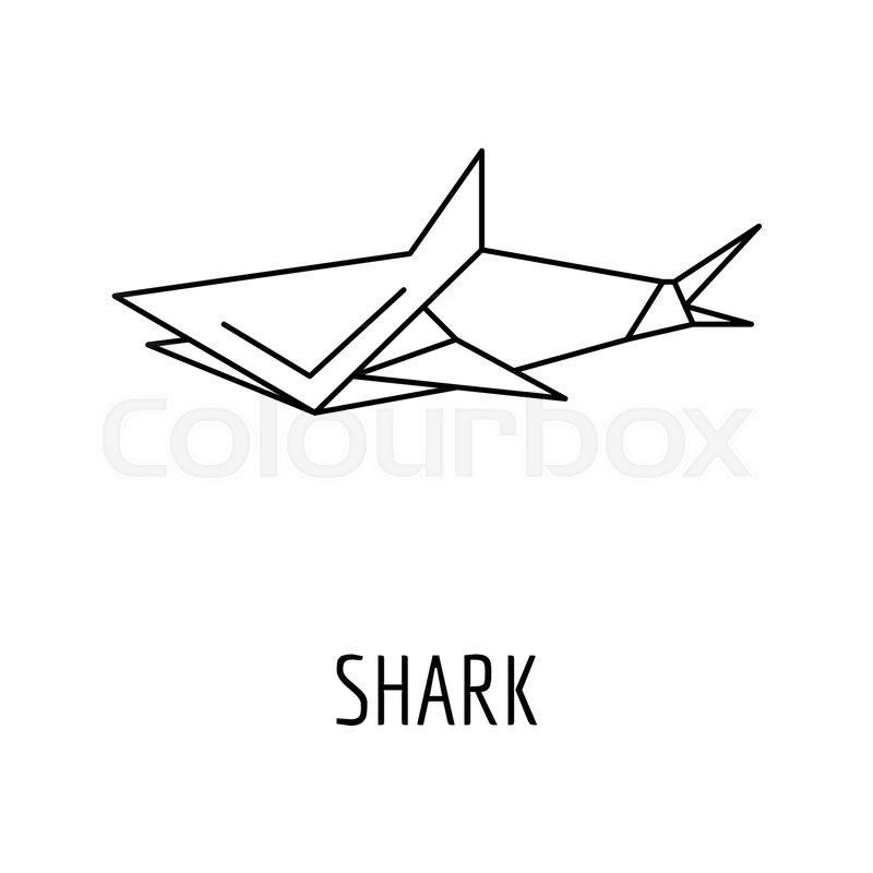 Origami Shark Icon Outline Shark Origami Vector Icon For Web Design