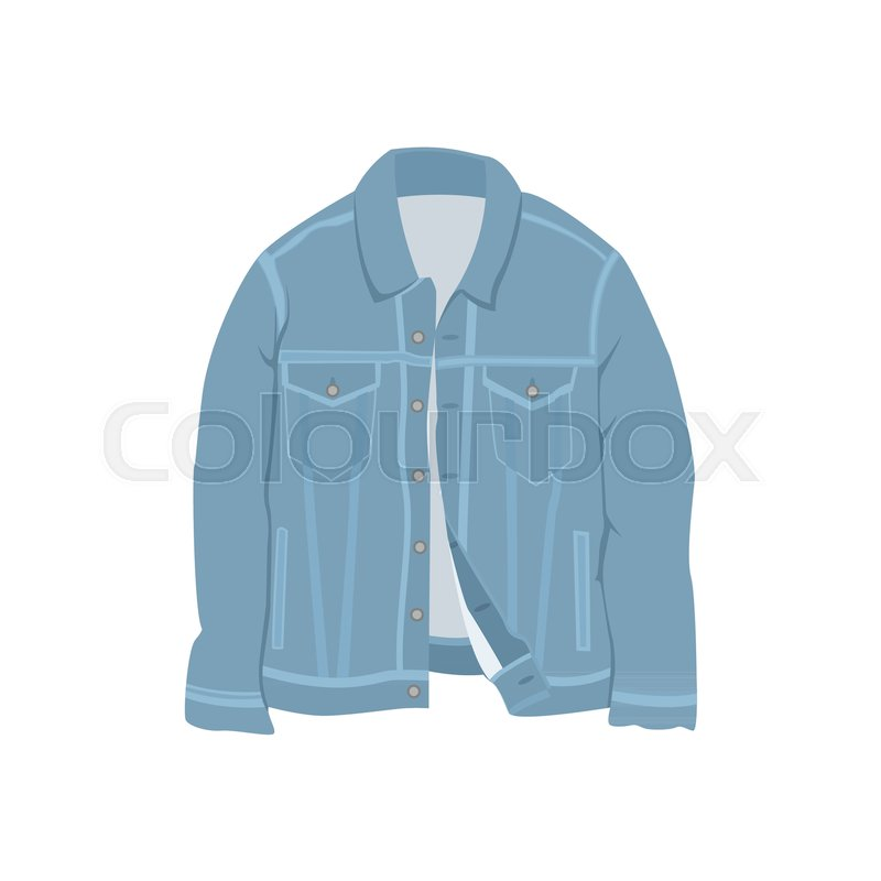 Blue Denim Jacket Fashion Style Item Vector Illustration Graphic