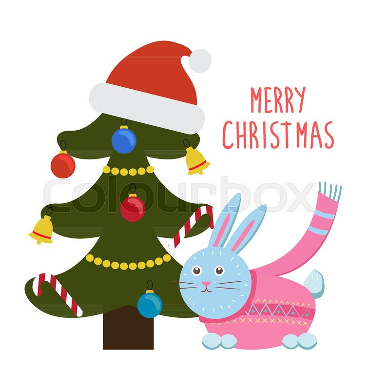 merry christmas greetings from cartoon bunny rabbit in pink scarf sitting under decorated christmas tree with santas hat on top vector illustration stock