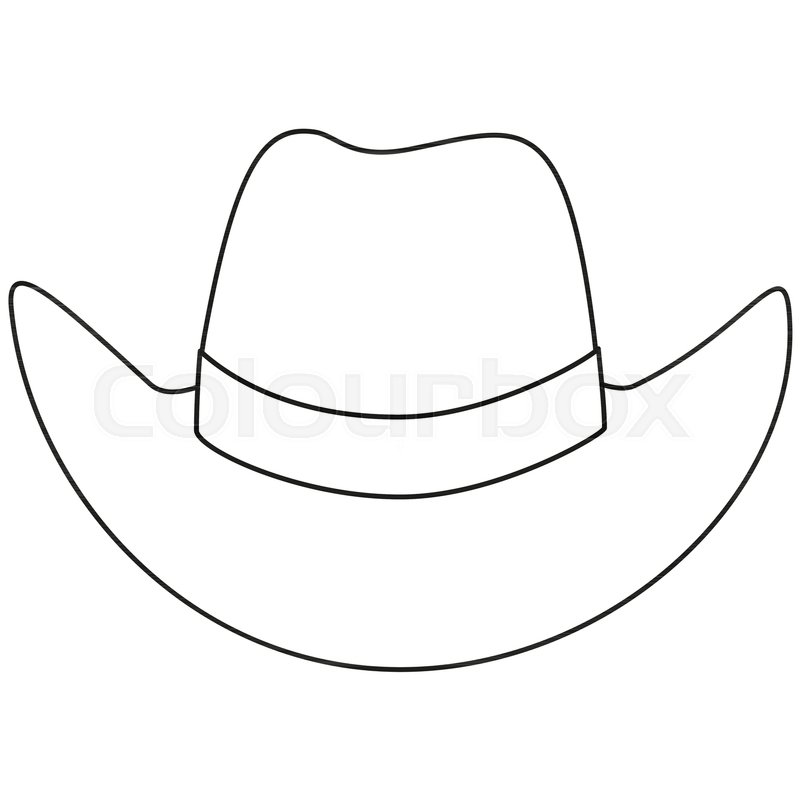 Line art black and white cowboy hat. Wild west vector illustration for gift  card certificate sticker d583cf291972