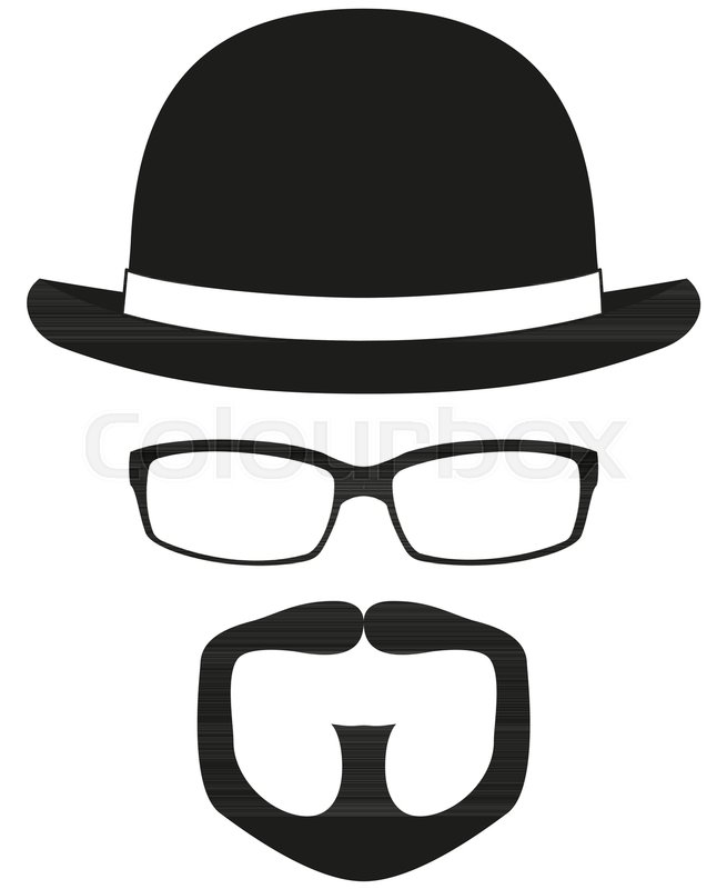 black and white hipster avatar silhouette set bowler hat glasses