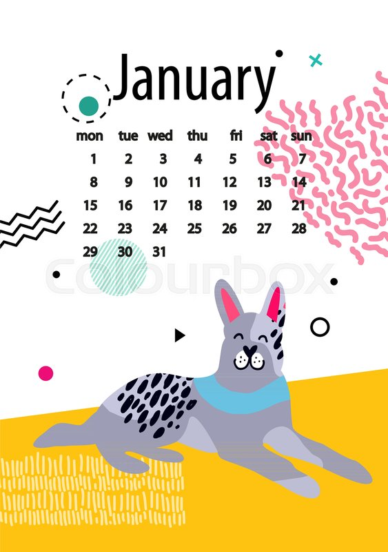 January Calendar For 2018 Year With Calm Doberman That Lies Vector