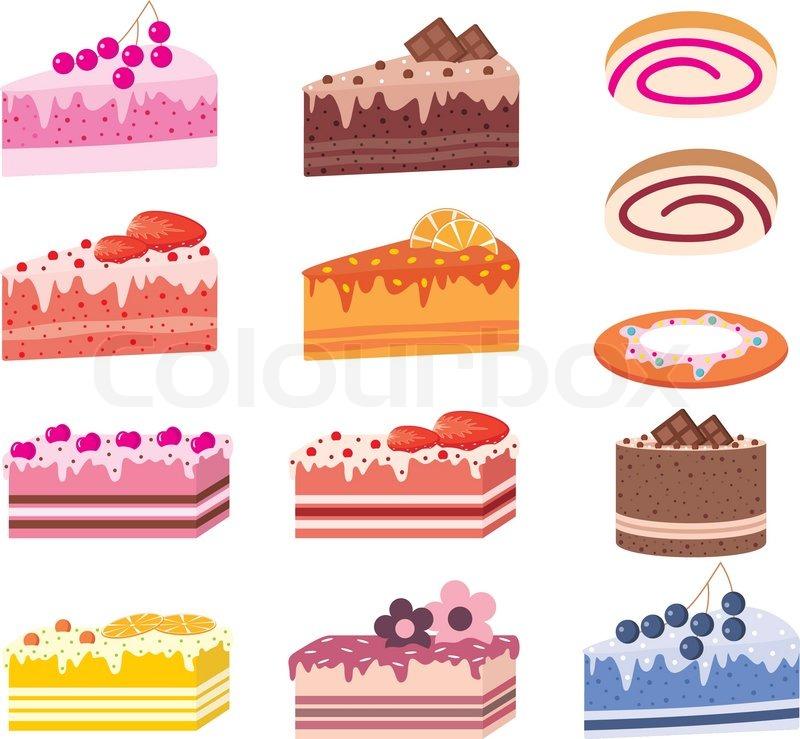 Kuchen Stuck Kuchen Sussigkeiten Vektorgrafik Colourbox