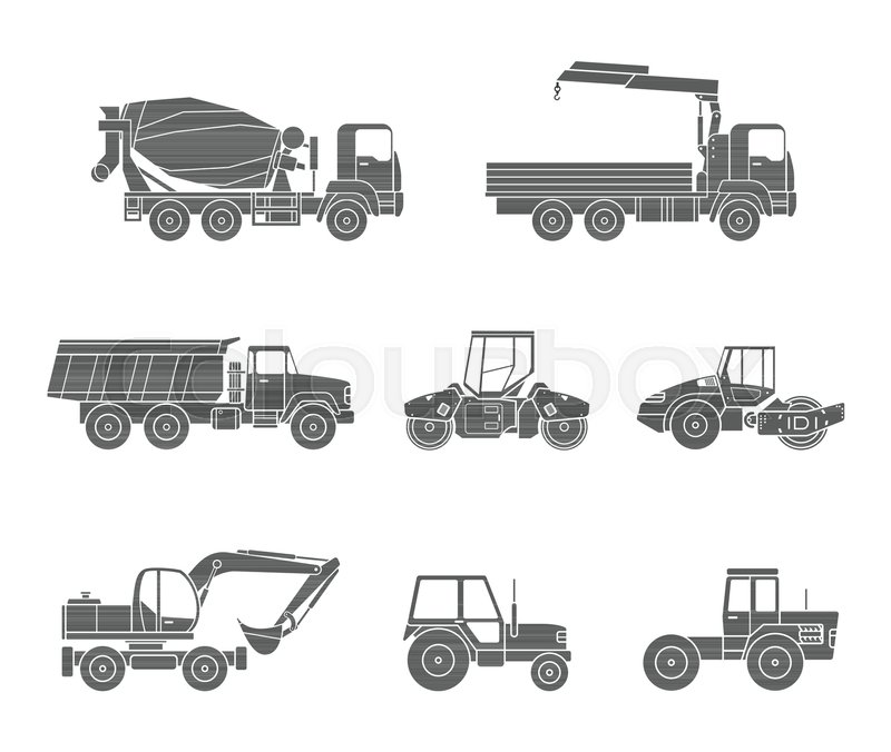 Construction Machines Icons Stock Vector Colourbox