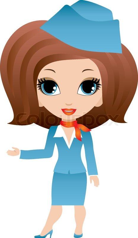 Stewardess Cartoon Stock Vector Colourbox