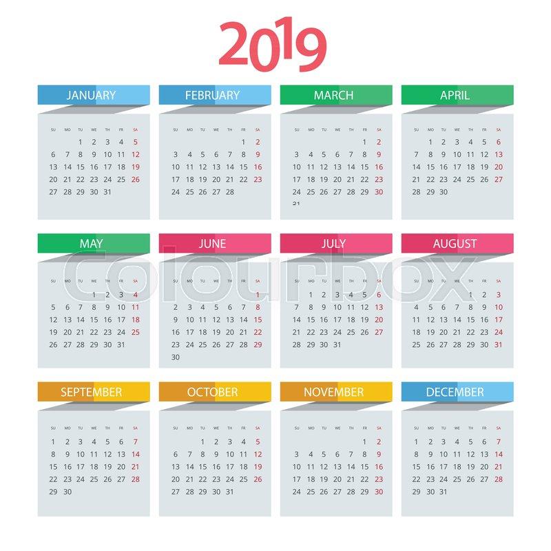 Calendar Pages To Print 2019.Vector Calendar For 2019 Year Vector Stock Vector Colourbox