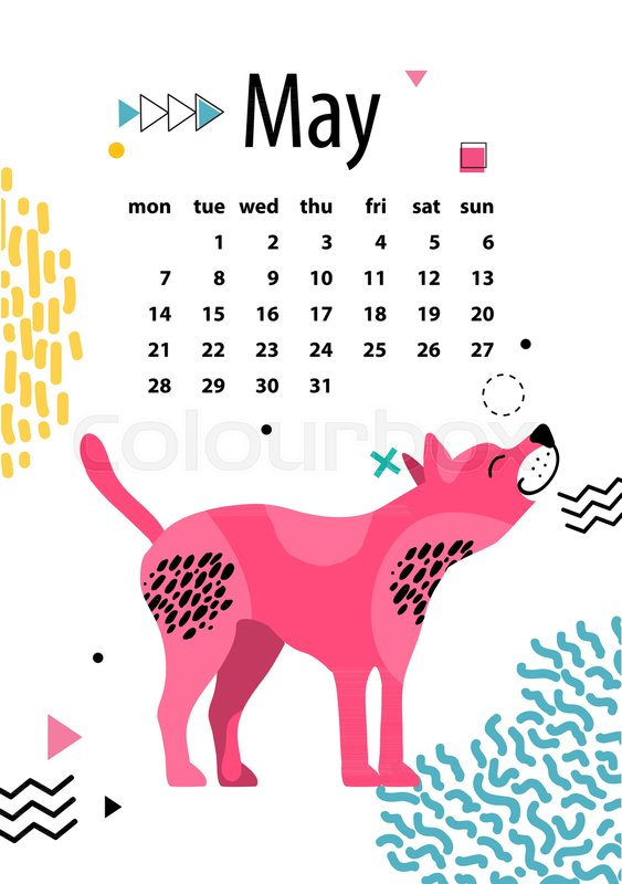 May Calendar For 2018 Year With American Hairless Terrier With Pink