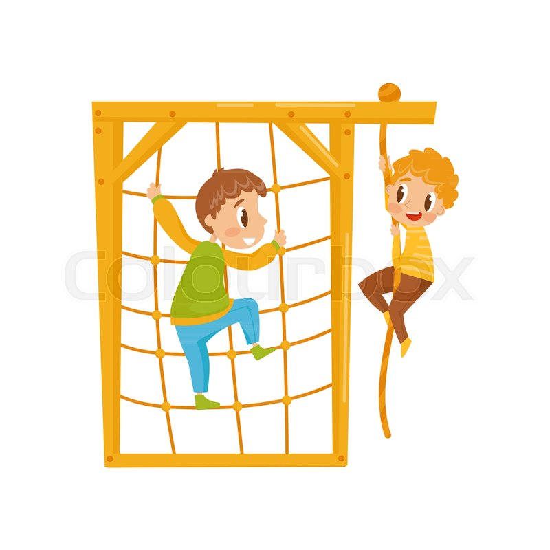 boys climbing net rope kids on a playground vector illustration
