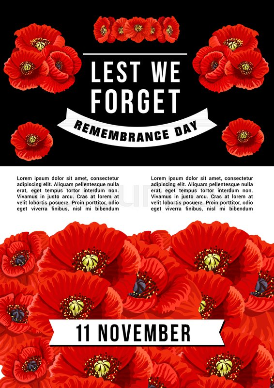 Vector Banner Lest We Forget Concept Of Remembrance Day Vector