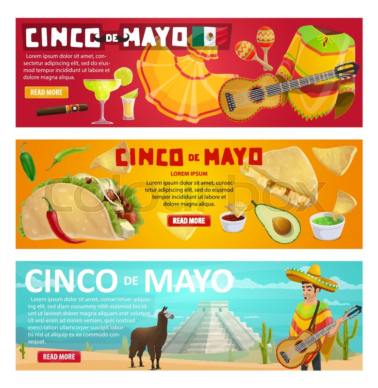 Cinco de mayo greeting banner with mexican holiday food and fiesta cinco de mayo greeting banner with mexican holiday food and fiesta party symbols spring festival sombrero chili pepper and jalapeno maracas m4hsunfo