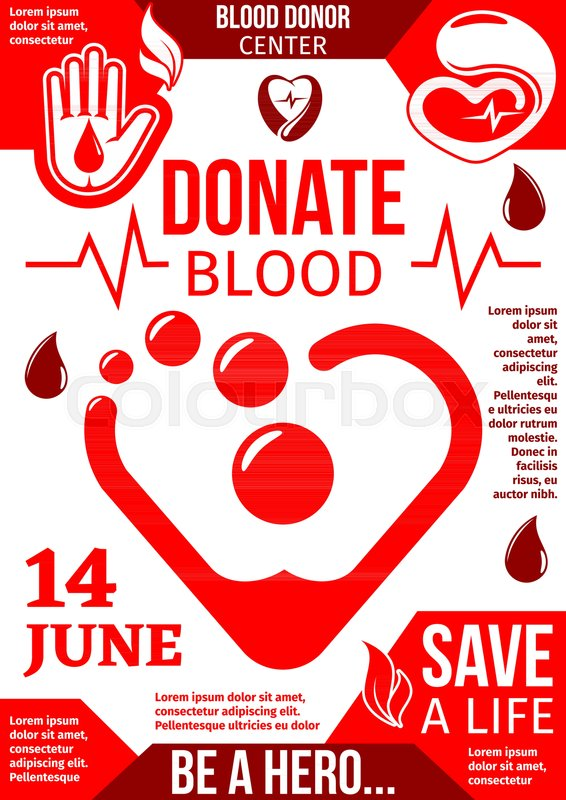 Blood Donor Center Banner With Drop Of Donation Blood World Blood