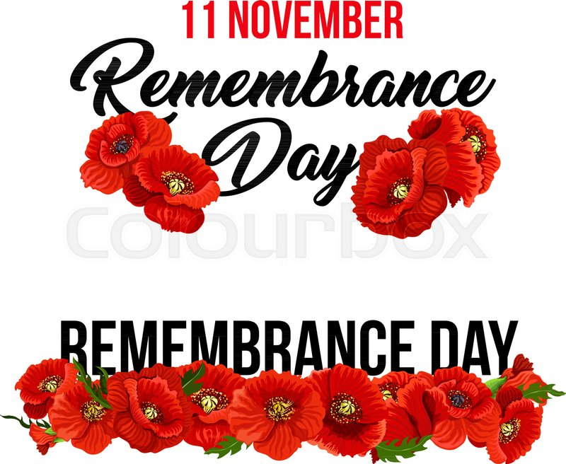 Poppy Icons Set For 11 November Remembrance Day Greeting Card Design