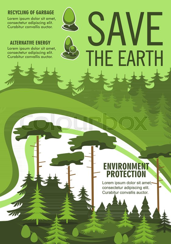 Green Tree Nature Landscape Of Eco Forest Promo Flyer For Conservation Recycle And Alternative Energy Themes Design Vector