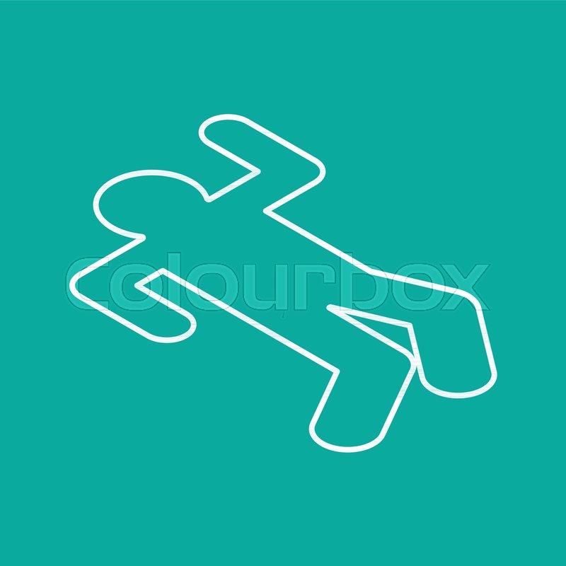 Crime scene Chalk silhouette corpse      | Stock vector | Colourbox