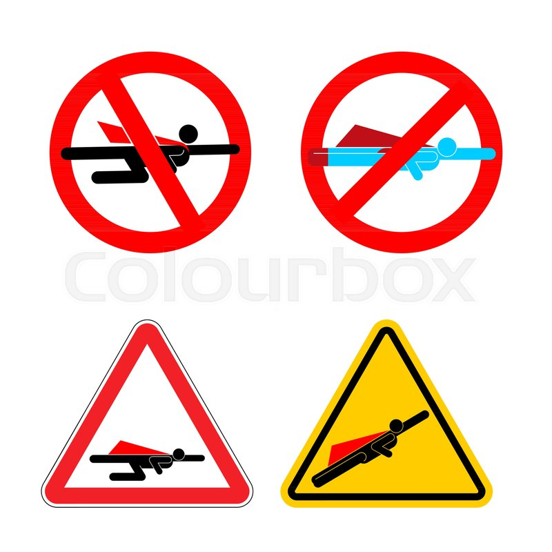 Attention Super Hero Set Stop And Forbidden Superhero Road Sign
