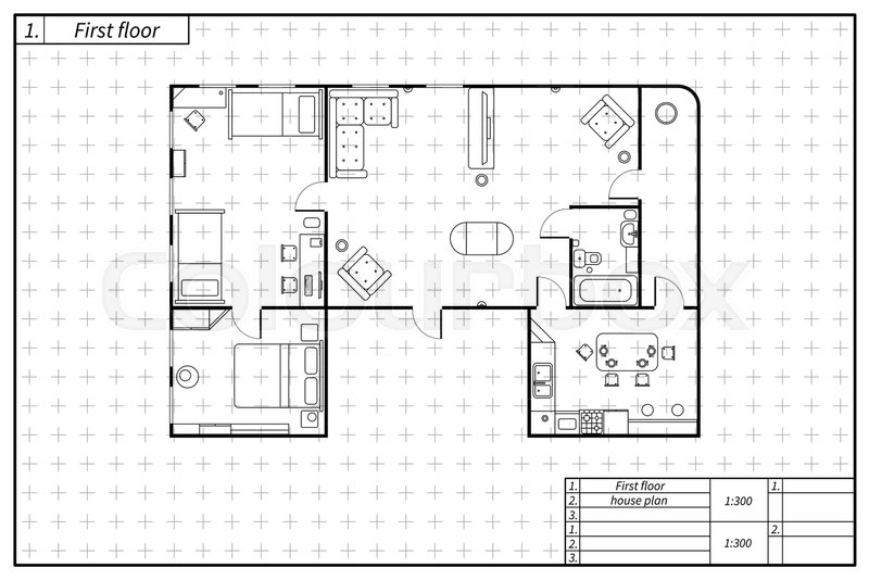 Black architecture plan of flat with furniture in blueprint sketch black architecture plan of flat with furniture in blueprint sketch style isolated on white vector malvernweather Image collections