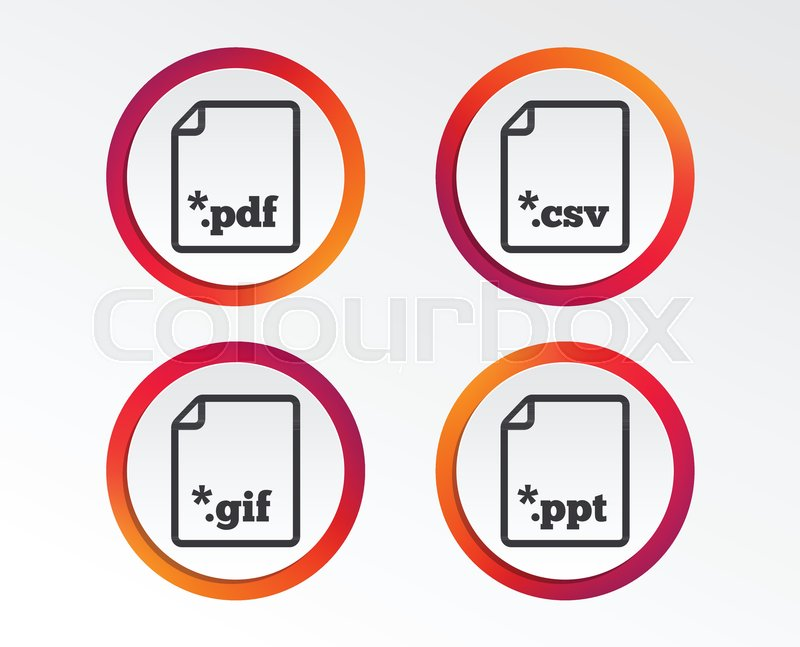 Download document icons file extensions symbols pdf gif csv and download document icons file extensions symbols pdf gif csv and ppt presentation signs infographic design buttons circle templates vector vector toneelgroepblik Images