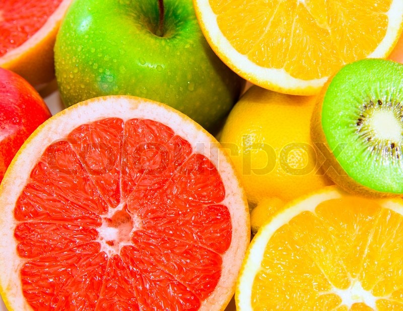 Stock image of 'Big assortment of fruits as a background'
