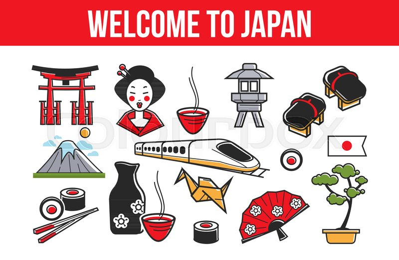 Welcome To Japan Promo Banner With National Symbols Journey To