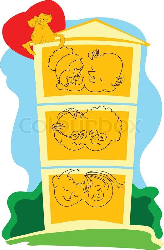 dies ist ein symbol f r die gro e familie die guten traditionen hat vektorgrafik colourbox. Black Bedroom Furniture Sets. Home Design Ideas