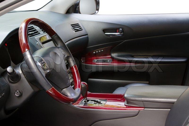 interior of a luxury car with mahogany finish stock photo colourbox