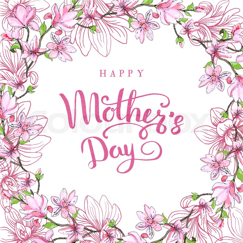 Happy mothers day greeting card with mothers day floral happy mothers day greeting card with mothers day floral background vector illustration vector m4hsunfo