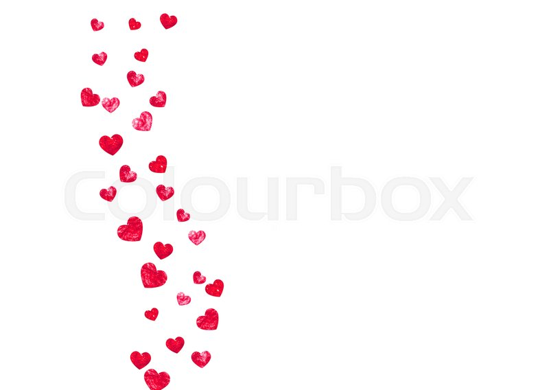 wedding confetti with pink glitter hearts valentines day vector