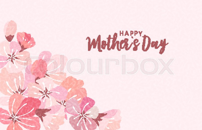 Happy Mothers Day Greeting Card With Sakura Flowers Background Vector Illustration EPS10