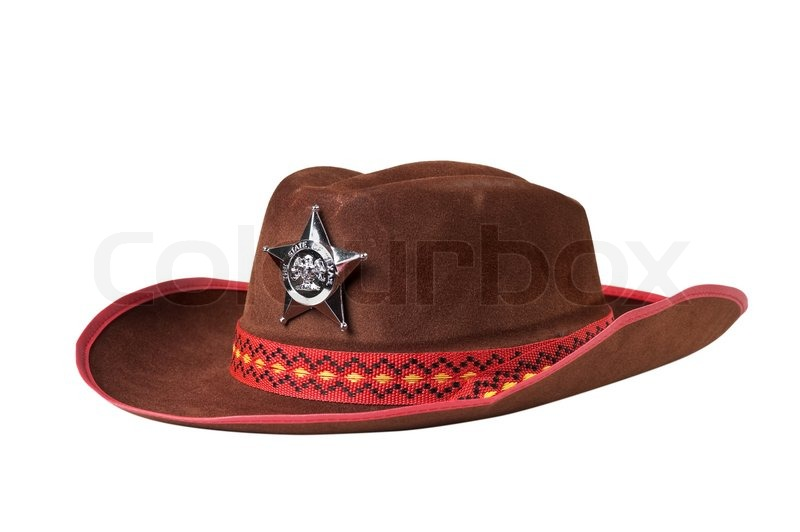 f6eaac8e Stock image of 'Cowboy hat with the star sheriffs isolated on white  background'