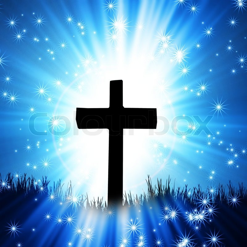 Stock image of 'Cross on the blue background'