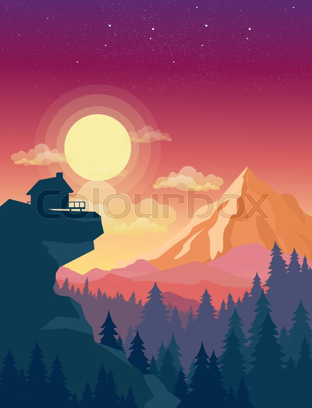 Vector Illustration Of House On Top Mountain With Beautiful Sunset In Mountains Landscape Background Sun And Clouds Sky Flat Style