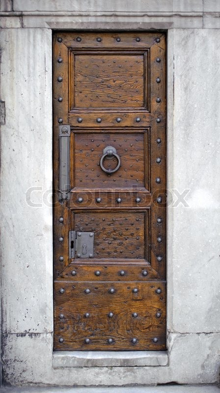 Antique Wooden Door, Metal Knocker, Rivets And Locks, Stock Photo