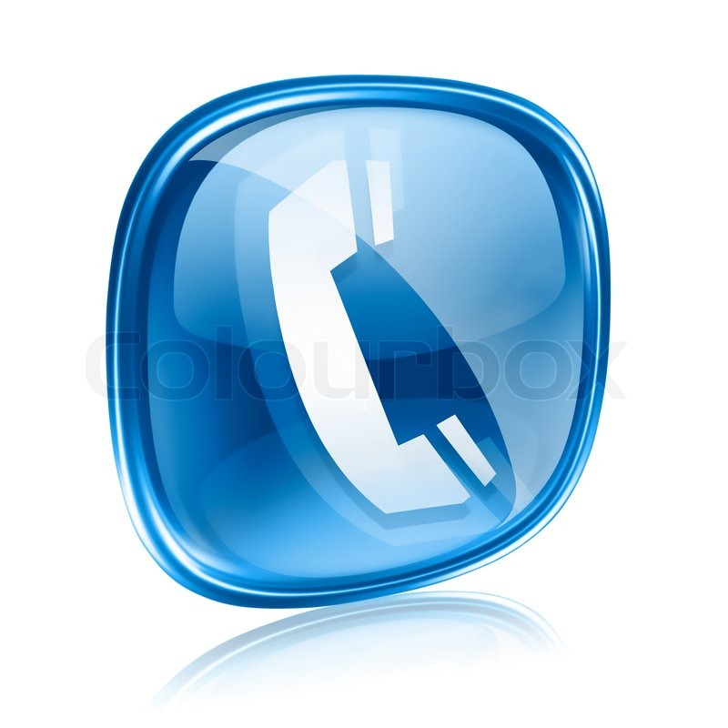 Phone Icon Blue Glass, Isolated On White Background