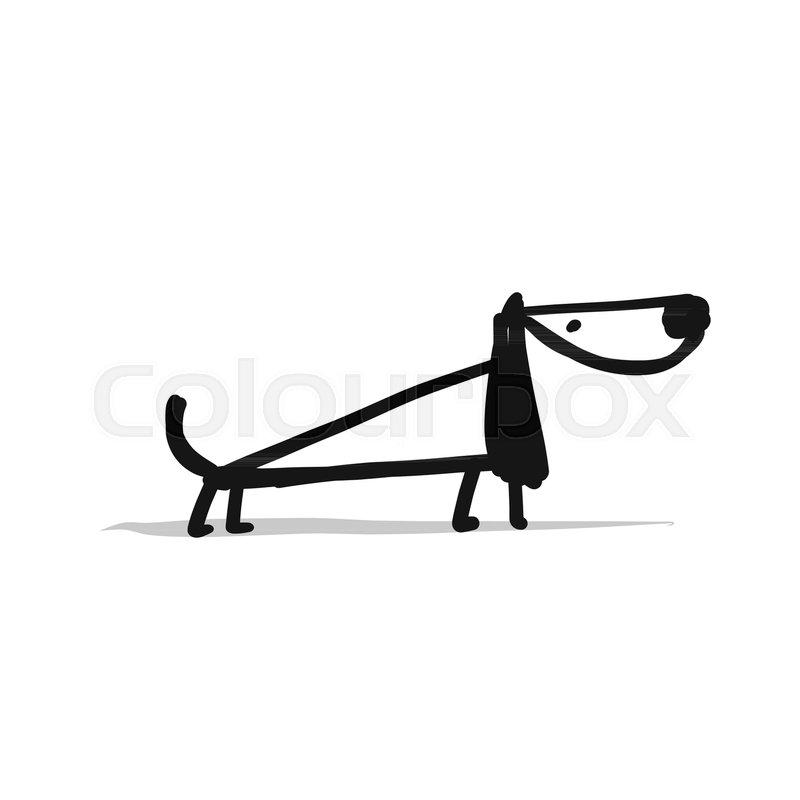Cute Dachshund Dog Sketch For Your