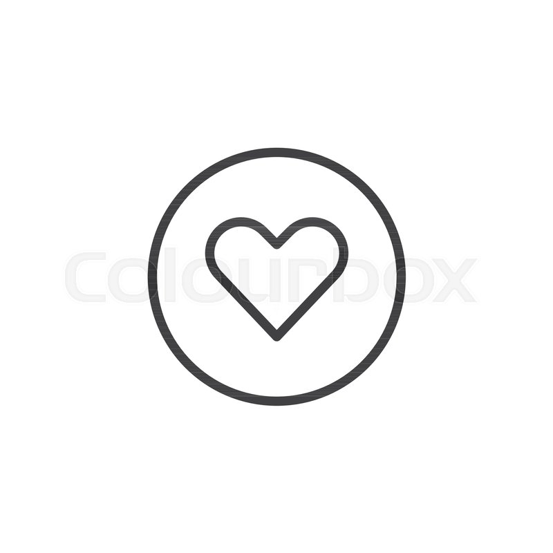 Heart In A Circle Outline Icon Linear Style Sign For Mobile Concept