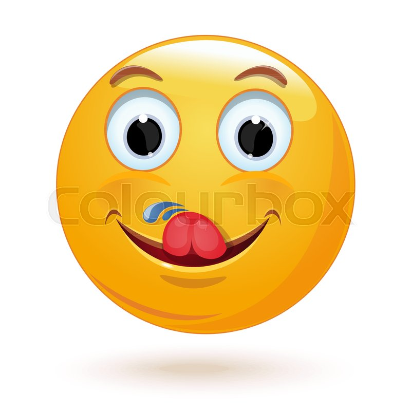 yummy and hungry emoticon licking stock vector