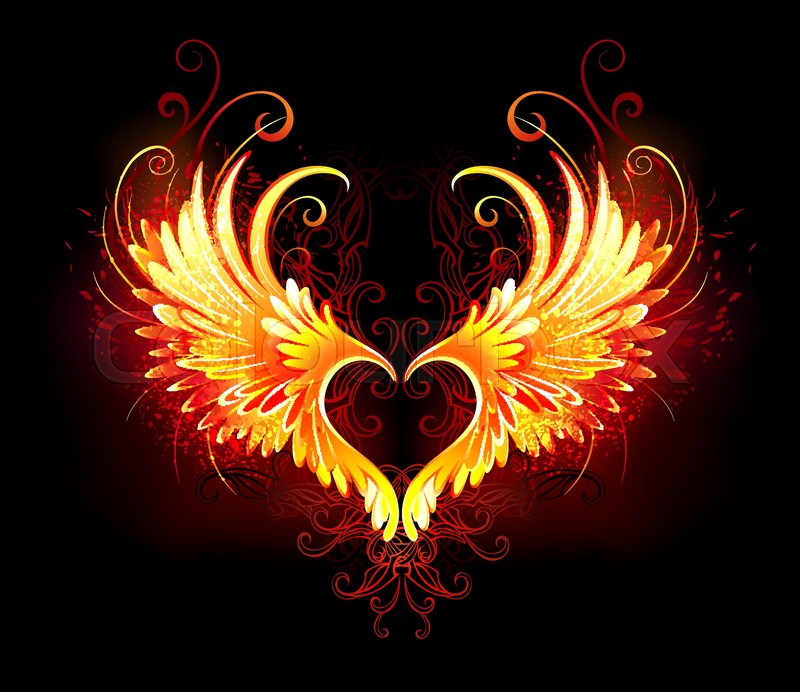 angel fire heart with flaming wings on stock vector