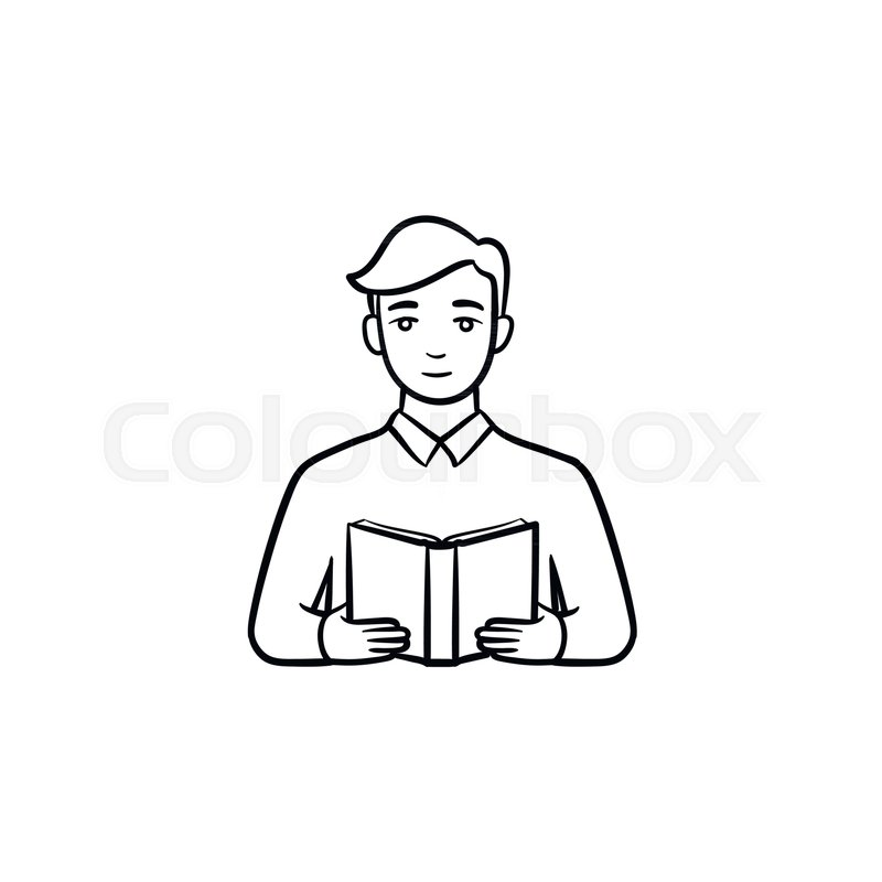 Student Reading A Book Hand Drawn Stock Vector Colourbox