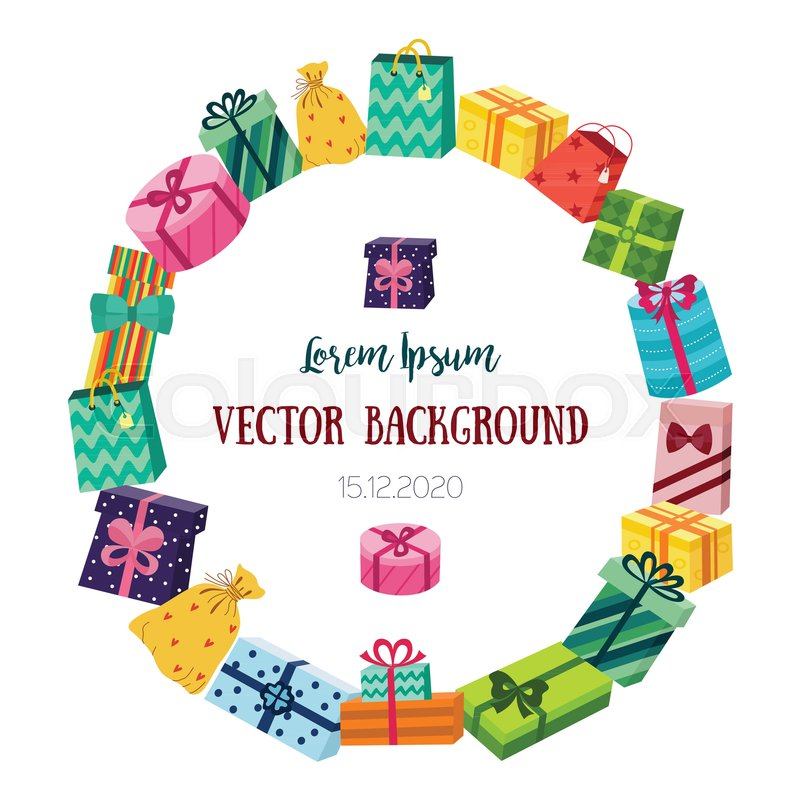 round frame made of christmas birthday new year gift present boxes with place for text flat cartoon vector illustration isolated on white background