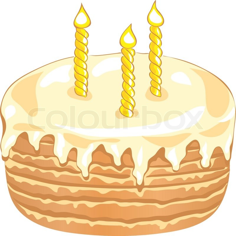 Birthday Cake With Three Candles Stock Vector Colourbox